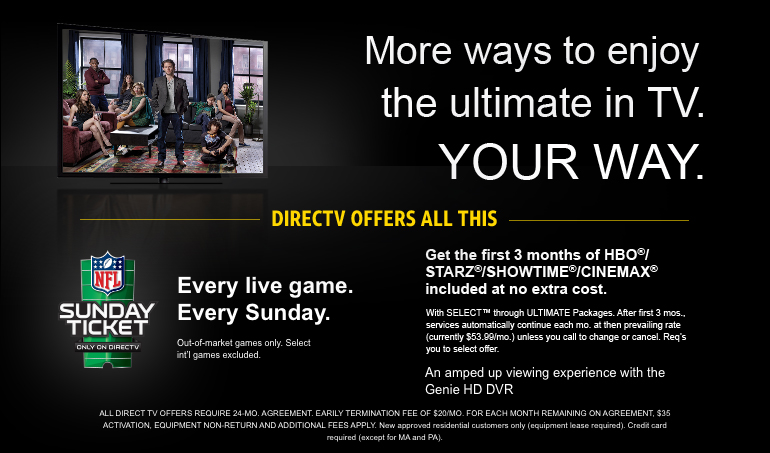Get Viasat DIRECTV Bundle and Get NFL SUNDAY TICKET